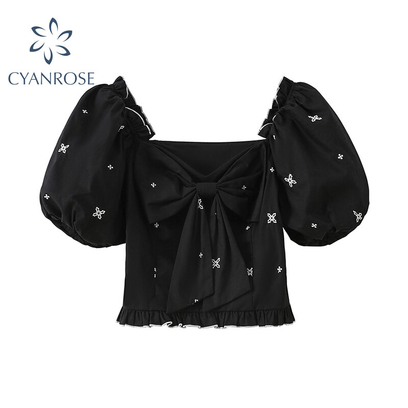 De hombro camisa de manga farol las mujeres Verano de 2021 estilo coreano elegante Plaza Collar con lazo manga corta negro blusa de mujer