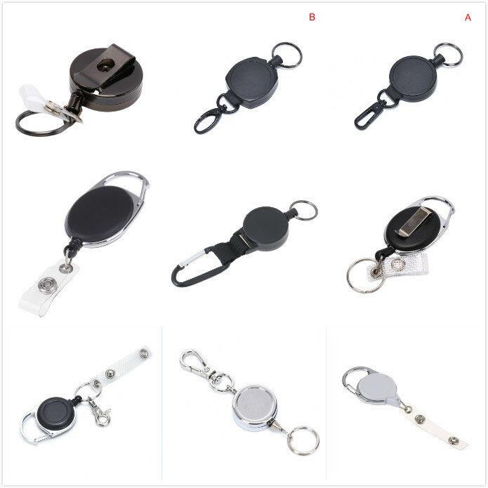 Cordón de identificación de carrete de 15 estilos, soporte de tarjeta de identificación, llavero cadena retráctil, carrete, cinturón extensible, llavero con Clip
