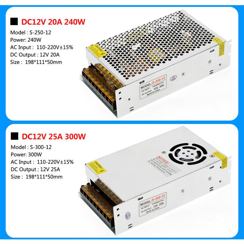 امدادات الطاقة DC12V 1A 2A 5A 8.3A 10A 15A 16.7A 20A 25A 30A 33A 40A 50A محولات الإضاءة LED سائق ل LED قطاع التبديل
