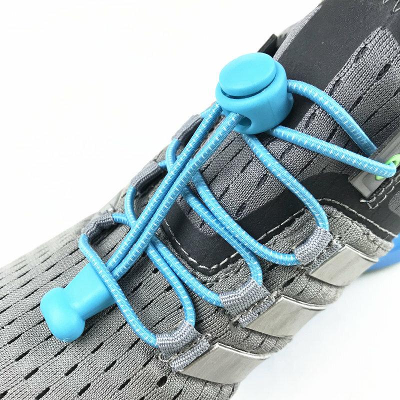 ยืดล็อคลูกไม้ 23 สีคู่ล็อครองเท้า Laces รองเท้าผ้าใบยืดหยุ่น Shoelaces Shoestrings วิ่ง/วิ่งจ๊อกกิ้ง/Triathlon
