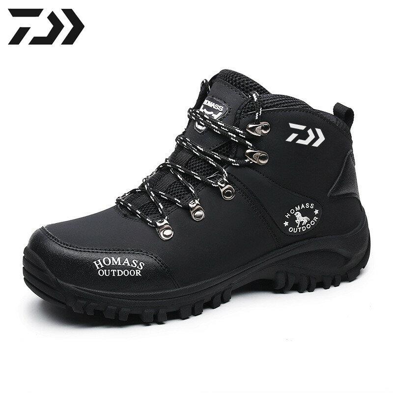 2021ใหม่ตกปลา Daiwa รองเท้าผู้ชายกันน้ำ Windproof ฤดูหนาวกำมะหยี่ตกปลาสวมใส่เดินป่าปีนเขากีฬากลางแจ้...