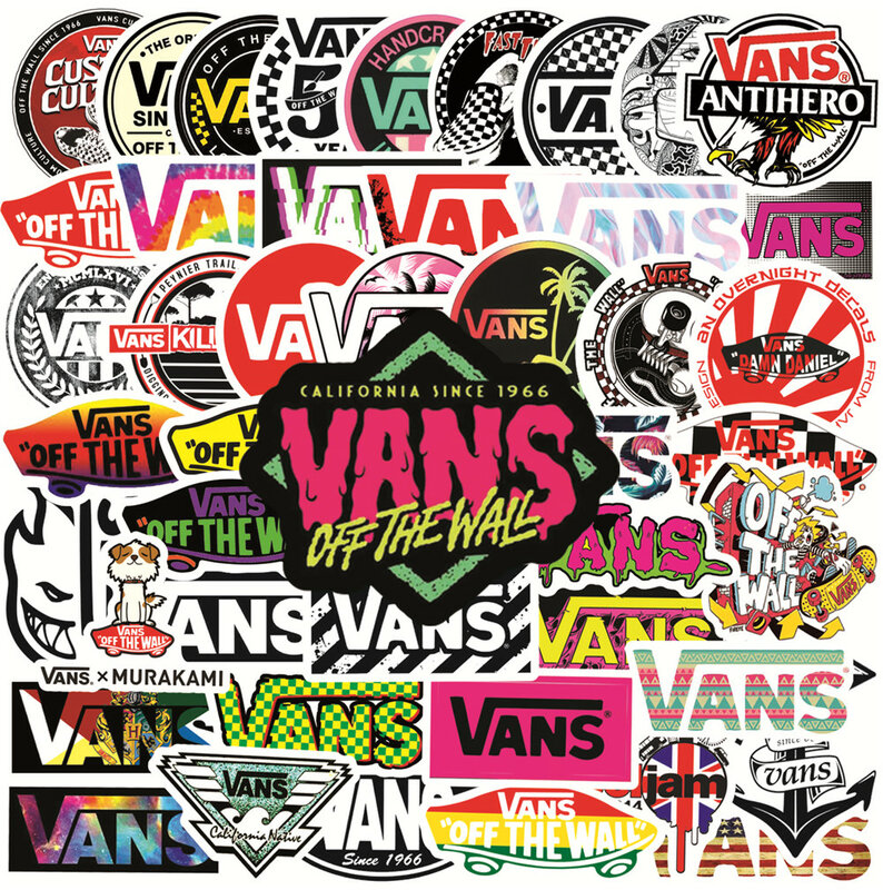 50pcs marca VANS Sticker vinile adesivo in PVC impermeabile per ...