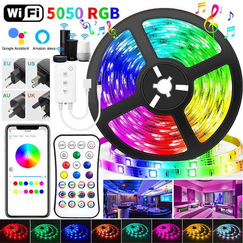 30M WIFI LED Strip ไฟ RGB Led 5050 SMD 20M 25M 2835เทป DC WIFI + อะแดปเตอร์