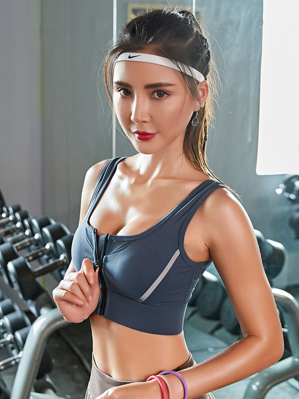 vFront zipper sports underwear women gather shock-absorbing shock-absorbing stereotyped bra, outer wear anti-sagging vest-style