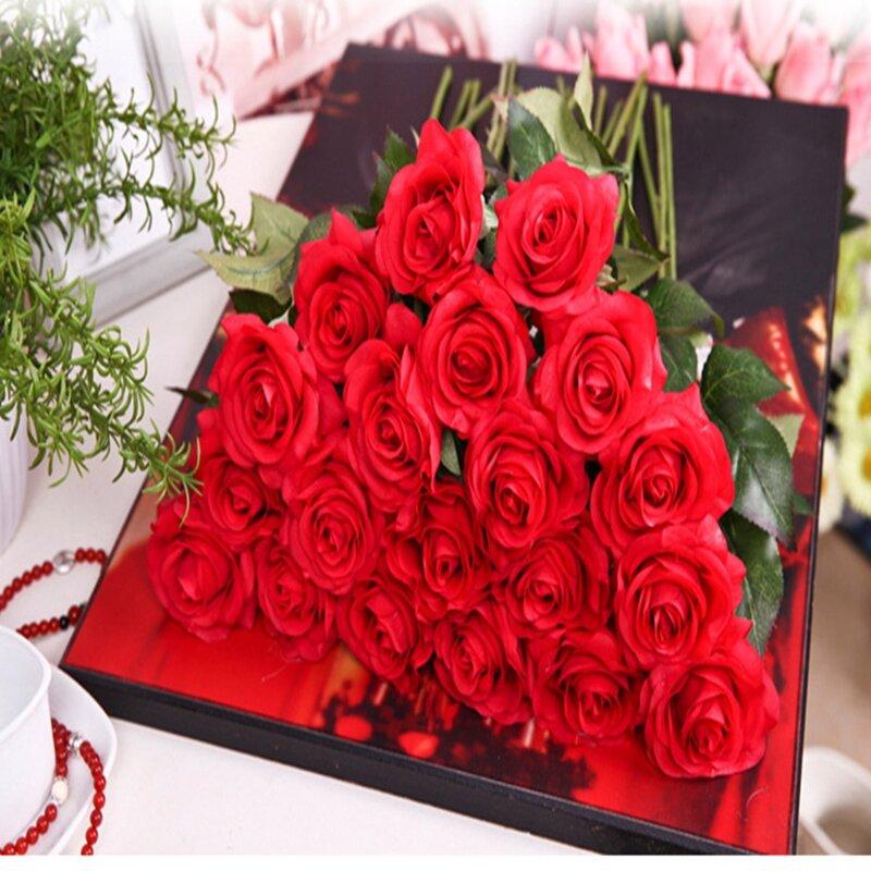 8pcs/11pcs Vero Tocco di Rosa Di Seta Fiori Artificiali di Nozze Bouquet Da Sposa Fiori Finti Floreale di Cerimonia Nuziale Del Partito Decorativo fiori