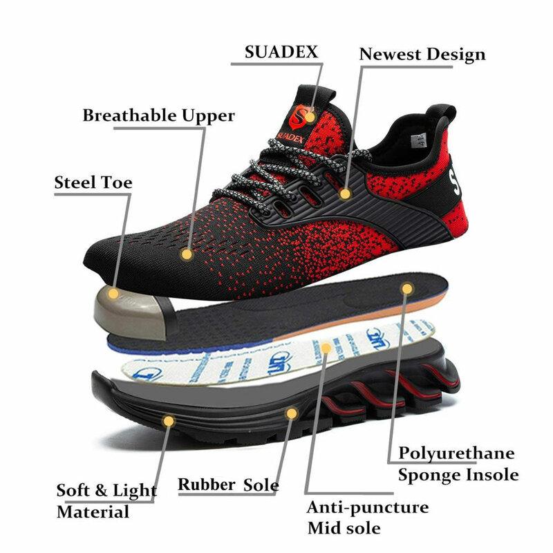 SUADEX – chaussures de sécurité à bout en acier pour homme et femme, souliers de travail légers et respirants à bout Composite, pointures européennes 37-48