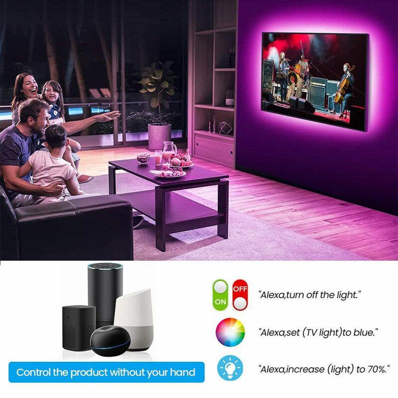 Tira de luces LED con controlador de teléfono inteligente, cinta Flexible de diodo de 12V con WIFI, RGB 5050, decoración de fondo para dormitorio y ordenador