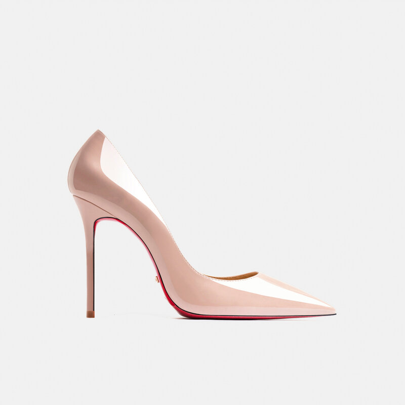 Luxury Brand Red High Heel Shoes Pointed Toes Sexy Wedding Shoes Black Naked Classics Pumps Genuine Leather Women'S Shoes 8/12cm