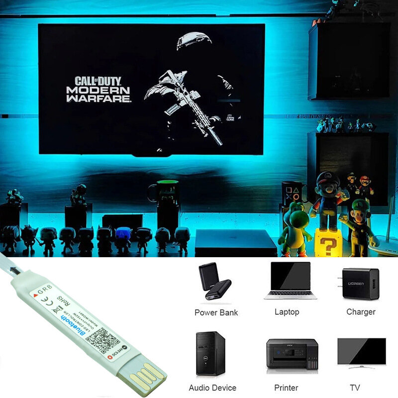 5m 5050 RGB Led 조명 스트립 네온 5V USB 미니 블루투스 Led 스트립 앱 제어, 4M 3M 2M 1M 유연한 램프 야간 조명 방수