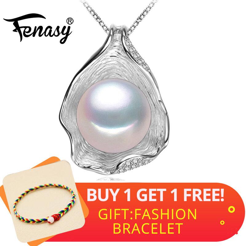 FENASY-عقد من لؤلؤ المياه العذبة للنساء ، 925 فضة استرلينية ، قلادة ، تصميم صدفة ، لؤلؤ ، مجوهرات ، جديد