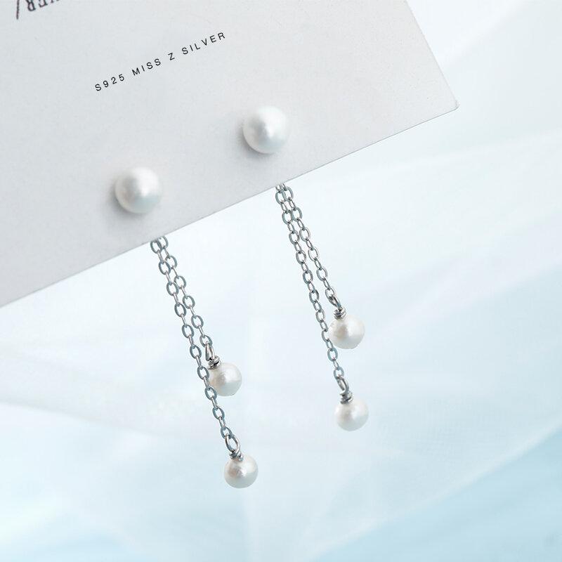 [Miss Z] اللؤلؤ شرابة الأقراط النسائية الاسترليني الفضة طويلة أنيقة الأقراط الفضية على الانترنت المؤثر قطرات الأذن ترصيع الأذن