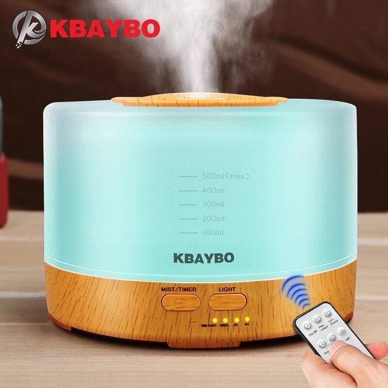 KBAYBO – humidificateur d'air ultrasonique 500ml, diffuseur d'huile essentielle de grain de bois, machine de brume d'aromathérapie avec télécommande 24V