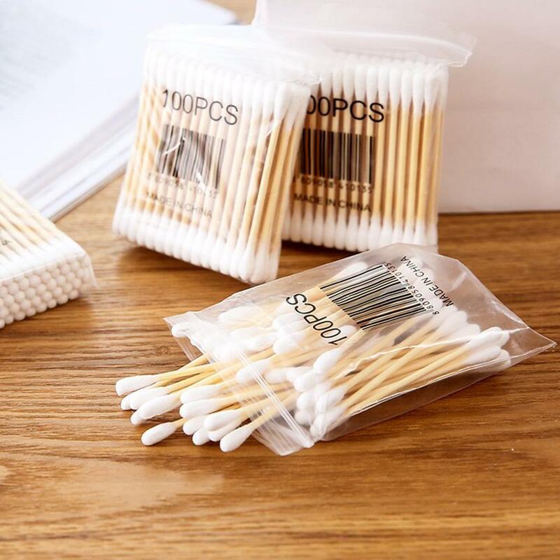 100 stücke Weiche Holz Stick Doppel-Geleitet Baumwolle Tupfer Sanitär Tupfer Schönheit Stick Make-Up Baumwolle Tupfer Stick
