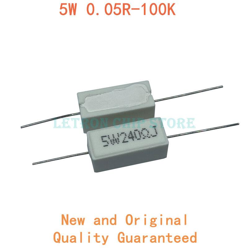 10 Uds 5W 5% de cemento resistencia a potencia 0,1 ~ 10K 0.1R 0.5R 1R 10R 100R 0,22, 0,33, 0,5, 1 2 5 8 10 15 20 25 30 100 1K 10K ohm