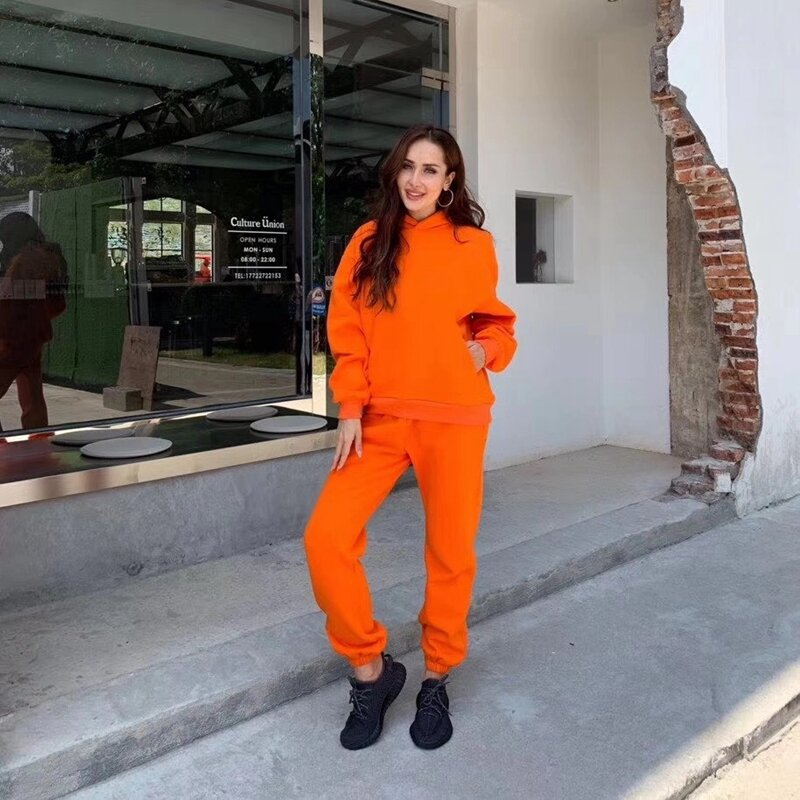 Australian designer, frauen sport anzug, winter 2020 neue warme, Mit Kapuze Fleece sport anzug