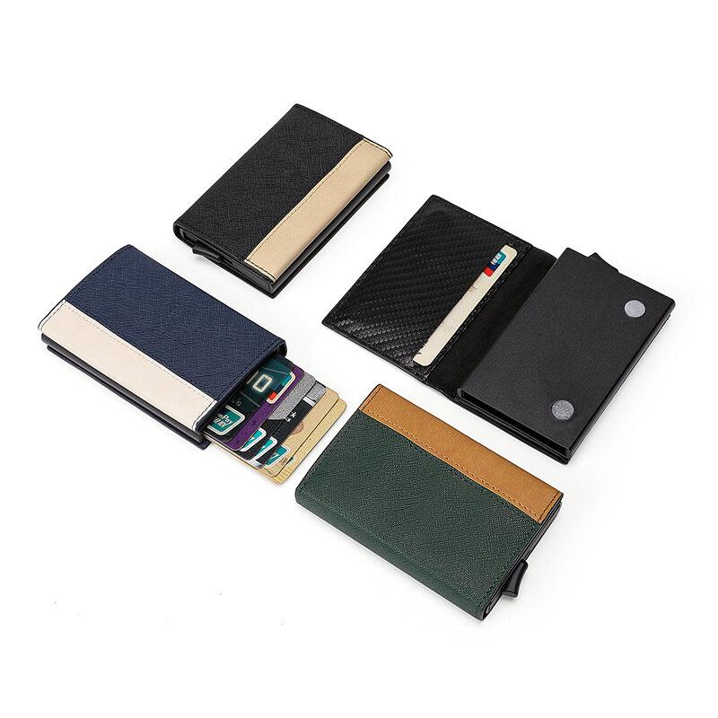 Zovysig-새로운 남성용 및 여성용 패치 워크 컬러 다기능 마그네틱 고품질 PU 가죽 소재 금속 카드 홀더, 2021