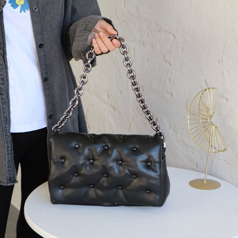 Rivet Luxury Branded Trend Shoulder Bag for Women Chain Denim Armpit Bags Handbags and Purses Women's Fashion Trending Hand Bag