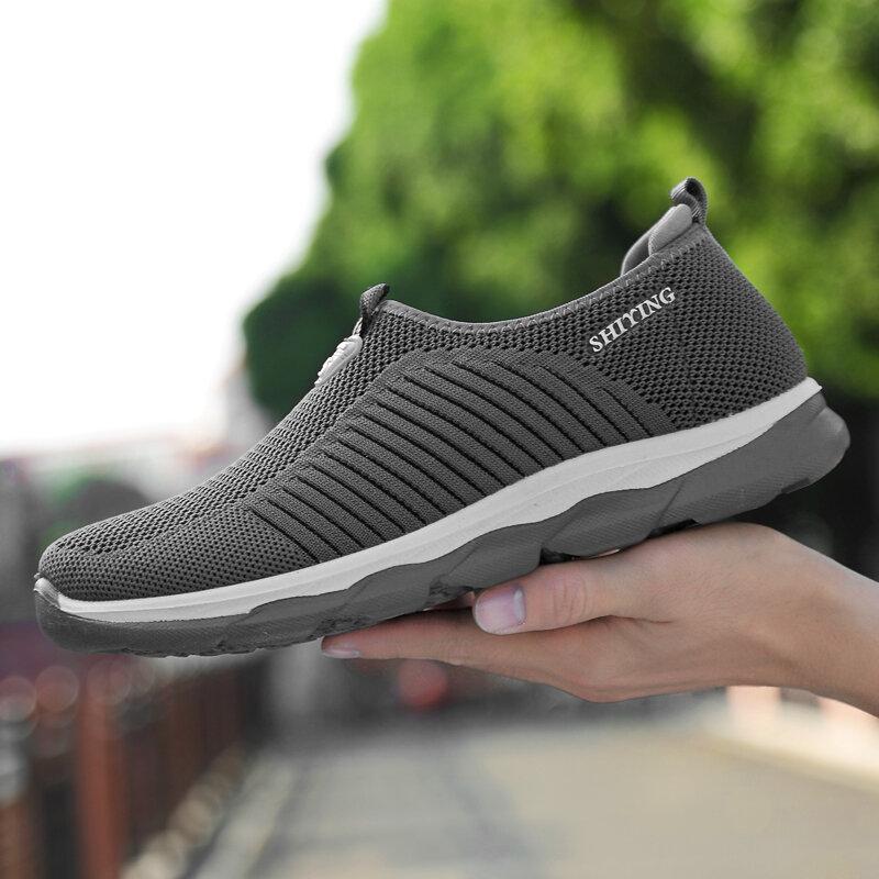 Zapatillas de deporte a la moda para hombre, zapatos planos cómodos y ligeros, antideslizantes, suelas blandas, transpirables, para caminar, primavera y otoño