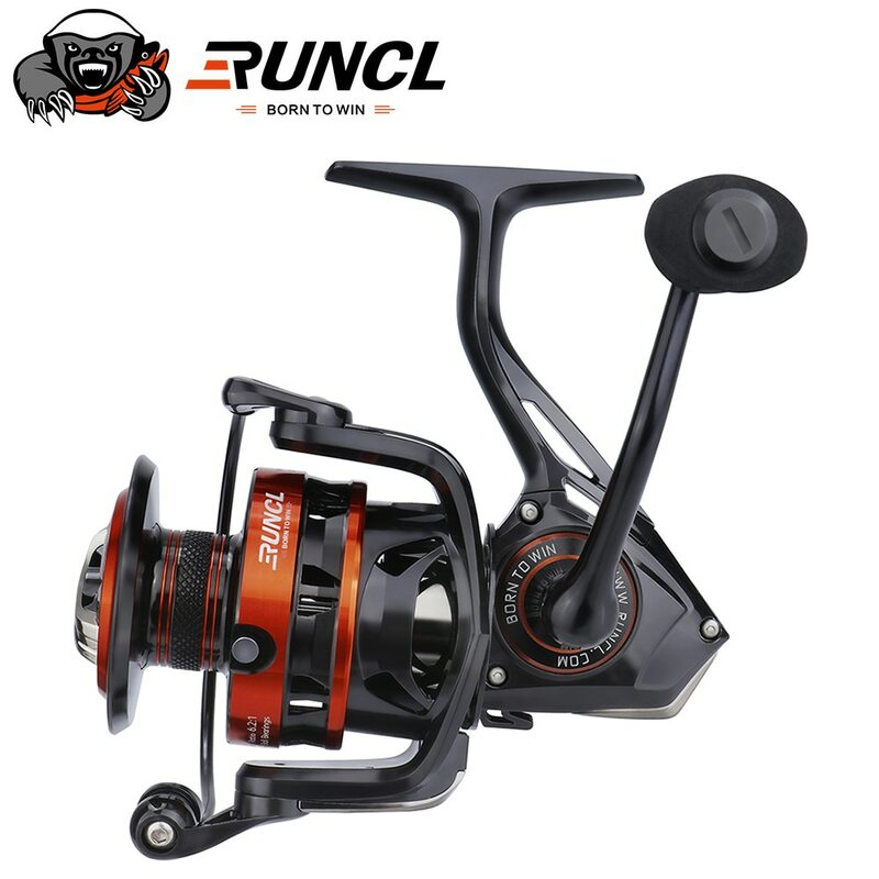 RUNCL Spinning ตกปลา Reel Rushmore-6.2:1ตกปลาความเร็วสูง Reel 9 + 1BB,คาร์บอนไฟเบอร์25.3ปอนด์ลากสูงสุด,Braid-Ready Spool