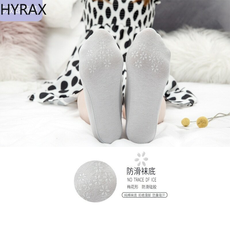 HYRAX Flat Ice Silk Boat Socks Short Socks Female Shallow Mouth Silicone Non-slip Invisible Stockings Female Cute Thin Section