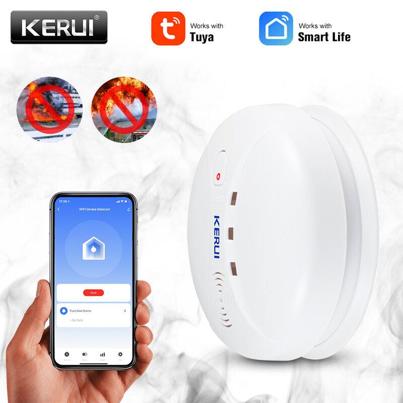 KERUI Wireless Tuya Smart Home WIFI rilevatore di fumo 80db protezione antincendio pompieri sensori negozio sistema di allarme di sicurezza della casa