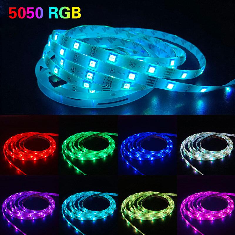 LED 스트립 조명 RGB 블루투스 20M 30M 5050 방수 Led 빛 10M 5M 유연한 램프 리본 SMD RGB 테이프 다이오드 luces
