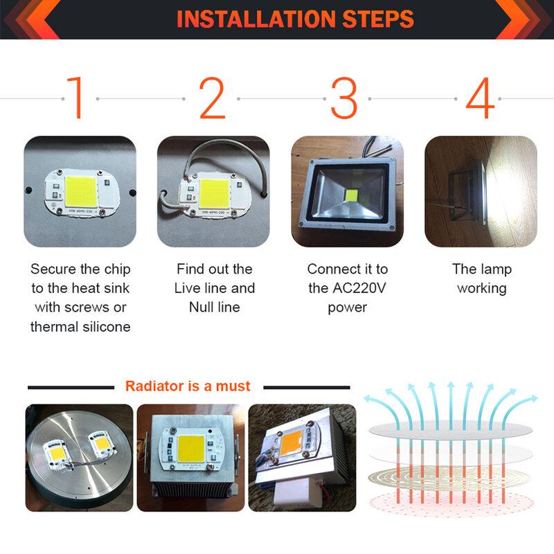 Chip LED 220V COB 50W 30W 20W 12W 10W 7W 5W 3W Smart IC nessuna necessità Driver lampadina lampada per faretto proiettore fai da te