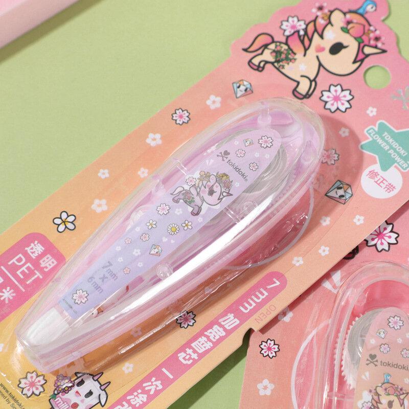 12 pz/lotto 7mm * 6M unicorno correzione nastro trasparente PET nastro adesivi cancelleria regalo ufficio materiale scolastico regalo promozionale