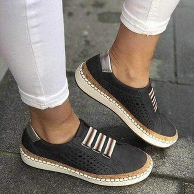 Zapatillas de deporte vulcanizadas para mujer, zapatos informales transpirables con agujeros, de talla grande, 2021
