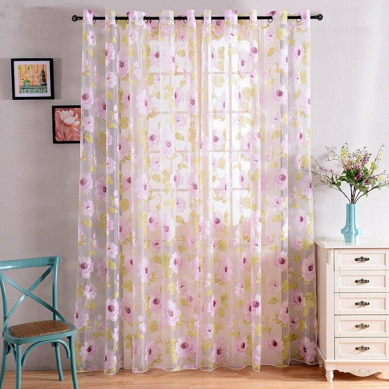 Topfinel-ستائر شفافة على شكل زهرة وردية ، للنوافذ ، وغرفة النوم ، وديكور باب المطبخ ، والتول ، والتشطيب