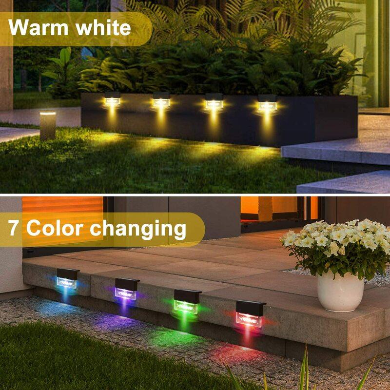 4/6PCS LED 태양 빛 갑판 빛 울타리 빛 태양 LED 빛 야외 정원 조명 야외 거리 램프 계단 조명 단계 조명