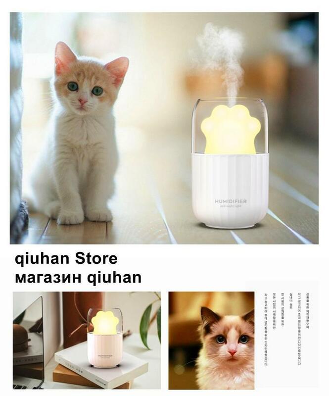 Mini umidificatore portatile USB simpatico gatto silenzioso purificatore d'aria per auto con luce notturna a LED camera da letto ufficio atomizzatore ad ultrasuoni aroma diff