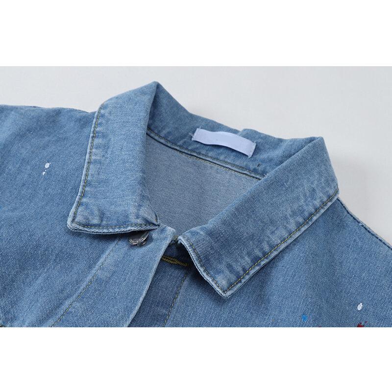 Chaqueta vaquera Vintage para mujer, abrigo vaquero de gran tamaño, abrigos coreanos de tinta contra salpicaduras, chaquetas nuevas informales de primavera y otoño 2021