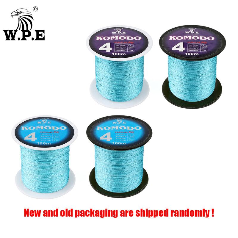 W.P.E KOMODO SeriesสายถักBraided 4 Strands 100M 150M 300M PE Braided Wire 0.6 #-4.0 # ฟรีpcsหมุนได้