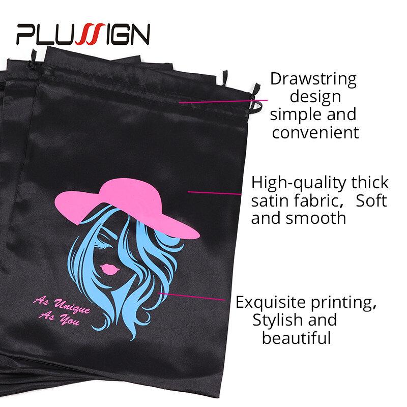 Bolsas De Almacenamiento Para Pelucas Paquetes De Pelo Con Cordón De Seda Suave Logotipo Personalizado Color Negro Unids Lote 1 3 10x14 Pulgadas Bestdealplus