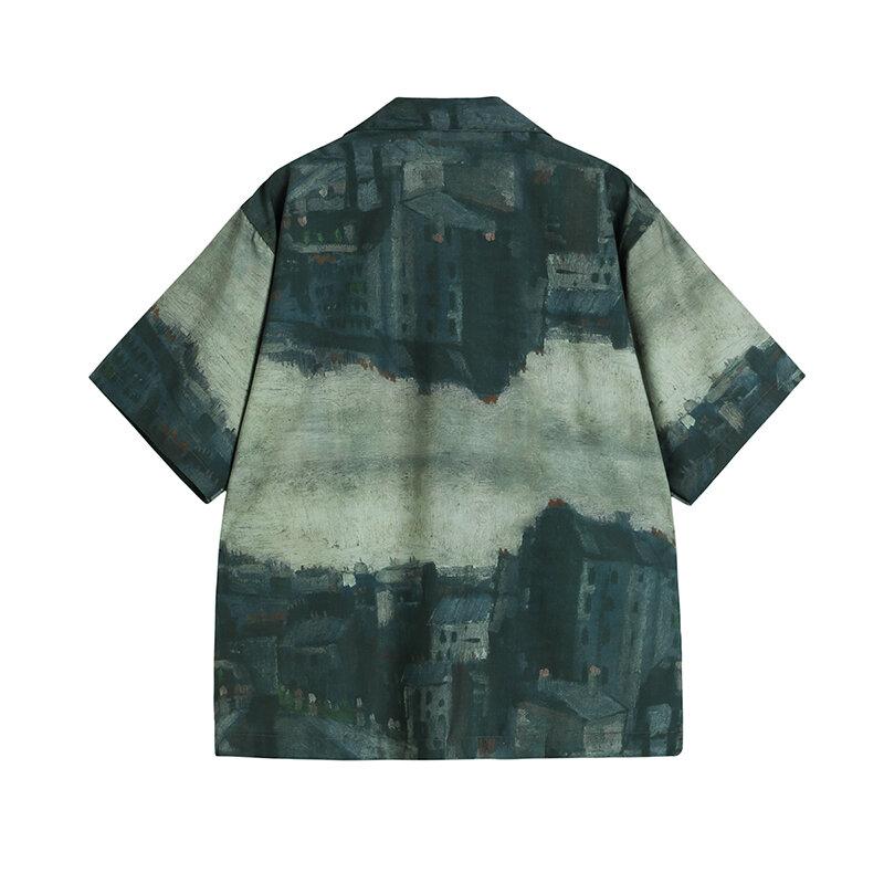 Women Chiffon Shirts Single-breasted Short Sleeve Vintage Painted Boyfriend Turn Down Collar Blusas 2021 Summer Female Blouses