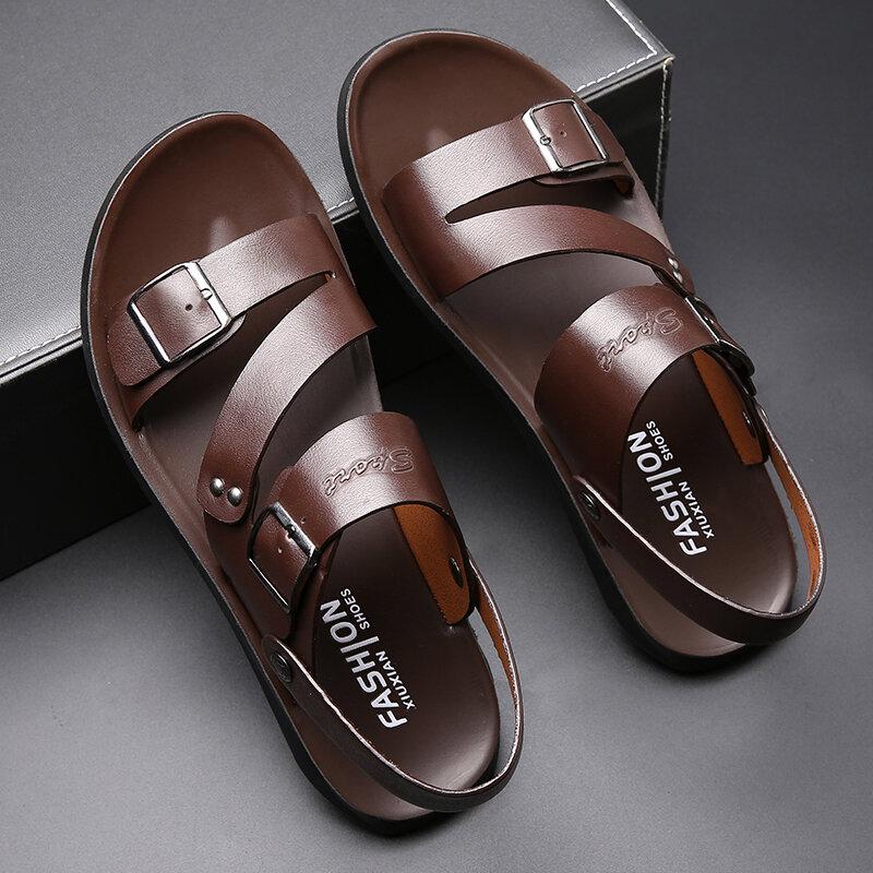 Sandales en cuir véritable pour hommes, chaussures d'été, confortables, pieds nus, en Pentoufle, nouvelle collection 2020