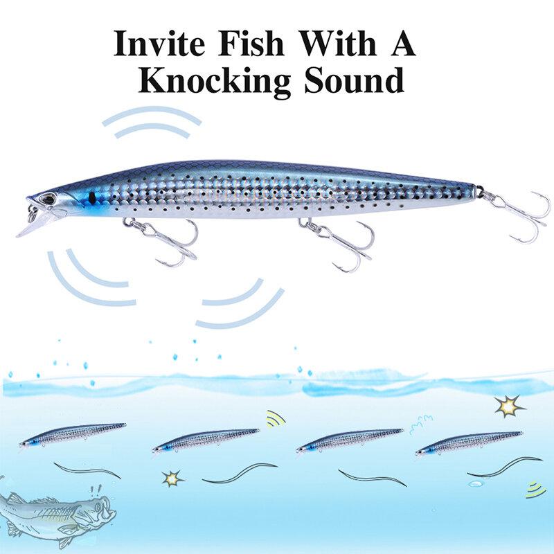 เหยื่อตกปลาน้ำเค็ม Fioating Minnow 145Mm 23G น้ำเค็มสีดำ Bass ตกปลาทะเล Pike Long Casting เหยื่อทังสเตนน้ำหนัก