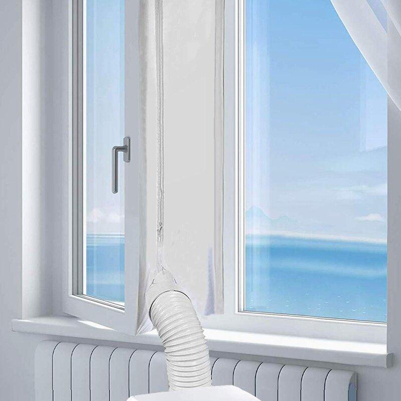 휴대용 에어컨 용 에어록 윈도우 씰, 400 Cm 유연한 천 씰링 플레이트, 지퍼 및 접착제가 빠른 창 씰