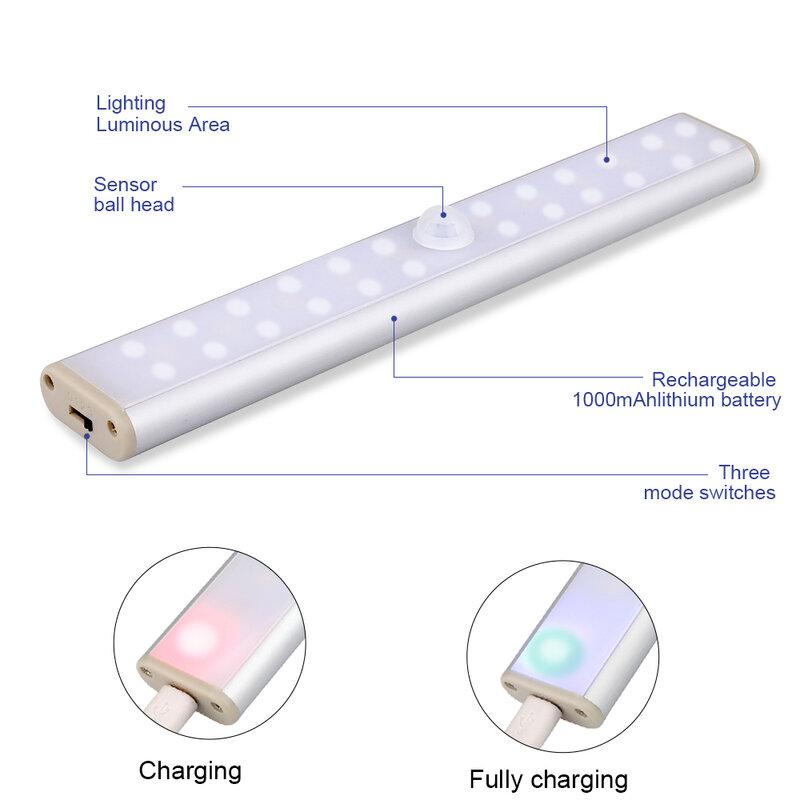모션 센서 캐비닛 조명 6/10/24/40/60 led 램프 USB 충전식 따뜻한 화이트/화이트 옷장 조명 부엌 침실, 모션 센서 캐비닛 조명