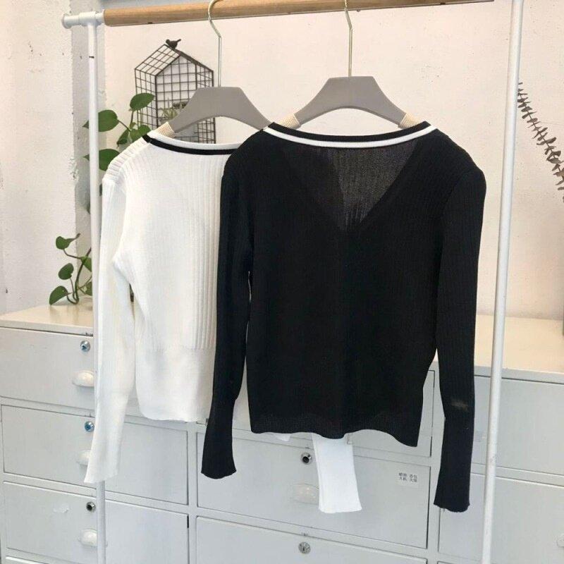 Zipper Collar Color Matching Sweater Cardigan Short Thin