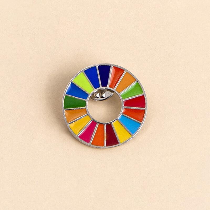 Enamal 17 색상 지속 가능한 개발 목표 브로치 유엔 SDGs 핀 배지 패션 레인보우 핀 여성 남성