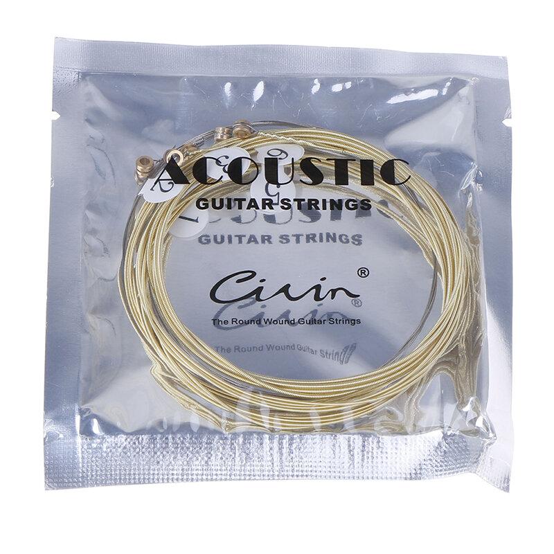 6ชิ้น/เซ็ต Universal Acoustic Guitar String ทองเหลืองหกเหลี่ยมเหล็ก Core Strings สำหรับเครื่องดนตรีกีตาร์ Strings กีต้าร์
