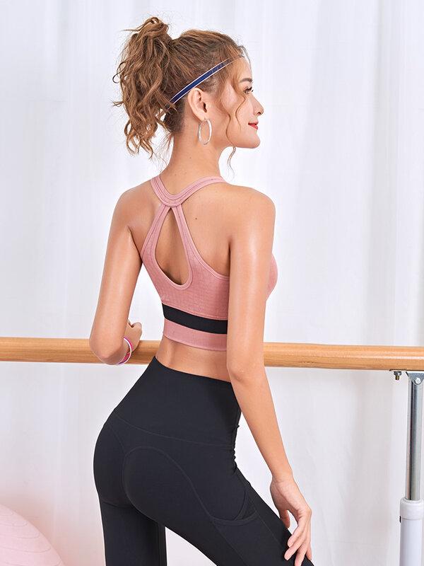 Ropa interior deportiva con cremallera frontal para mujer, sujetador de yoga para correr, antiflacidez, chaleco de belleza para fitness de talla grande