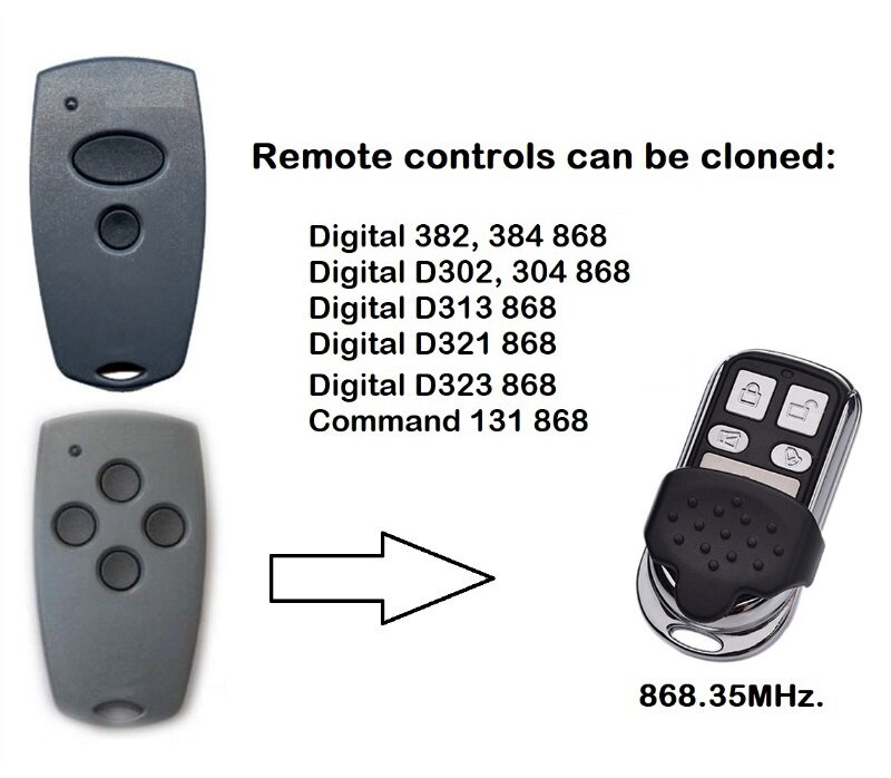 جهاز تحكم عن بعد لباب المرآب رقمي من أجل استنساخ D302 D382 D304 D313 شحن مجاني 868 ميجاهرتز