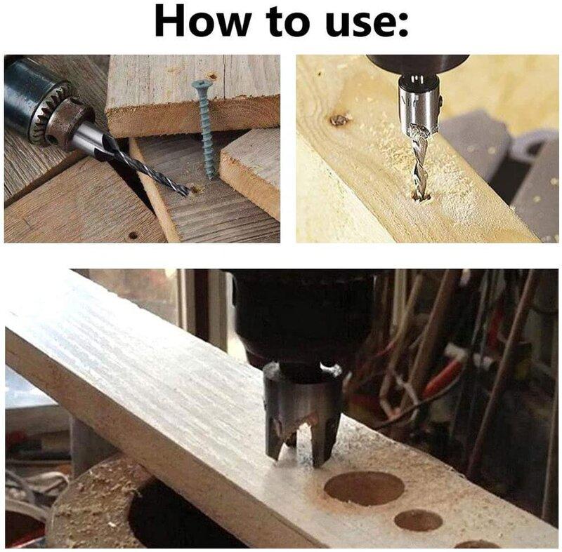 26PCS Holzbearbeitung Fase Bohren Werkzeuge, Drei Spitzen Senker Bohrer L-Schlüssel