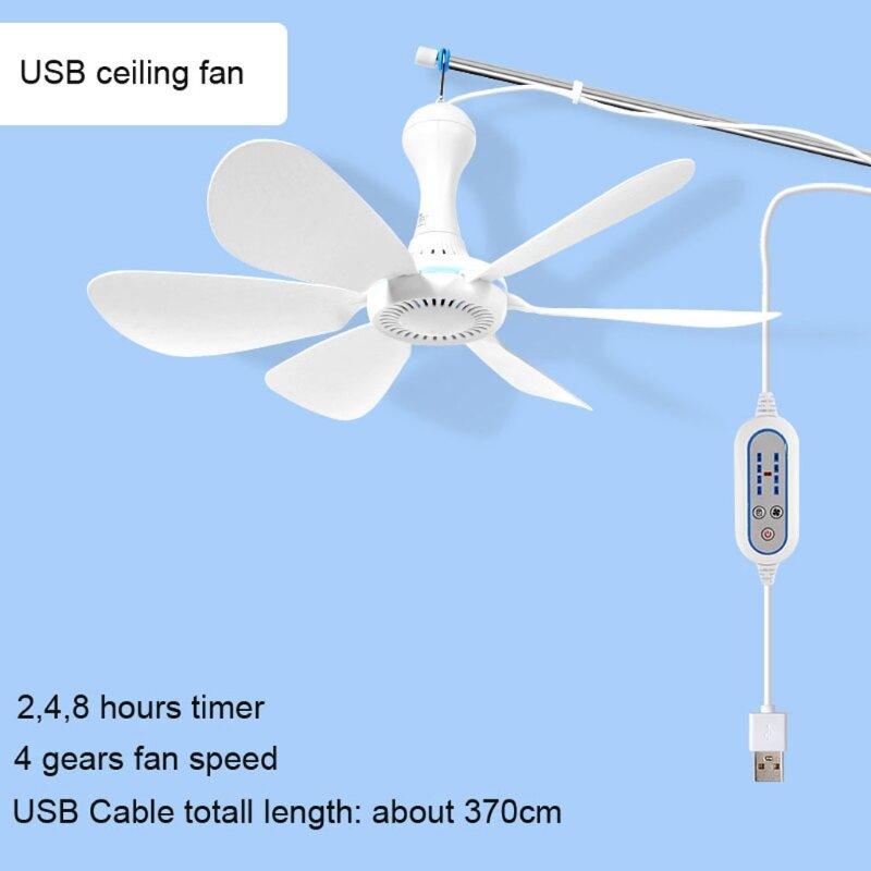 Stille 6-klinge USB powered decke fan mit fernbedienung # Keine fernbedienung timing 4-speed hängen fan für camping bett dormito