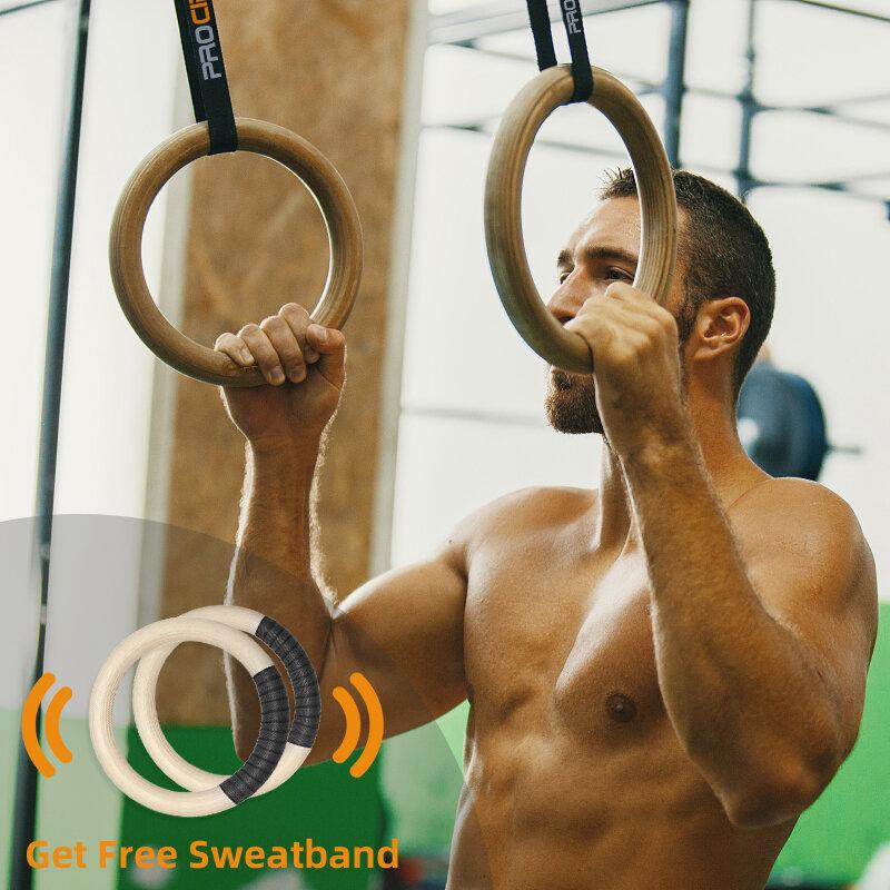 Procircle anelli per ginnastica in legno 25/28/32mm anelli da palestra con fibbie lunghe regolabili cinghie allenamento per bambini adulti Home Gym Fitness