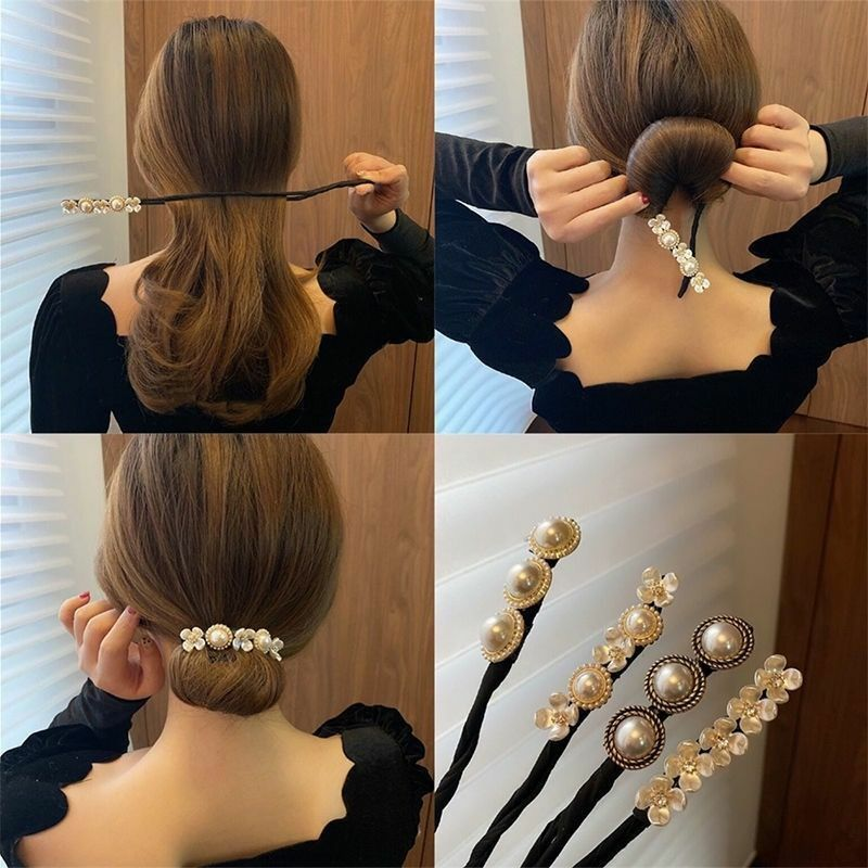 2021 Korean Version of The Lazy Essential Flower Coil Hairpin Sweet New Braided Hair DIY Hairband Hair Accessories for Women