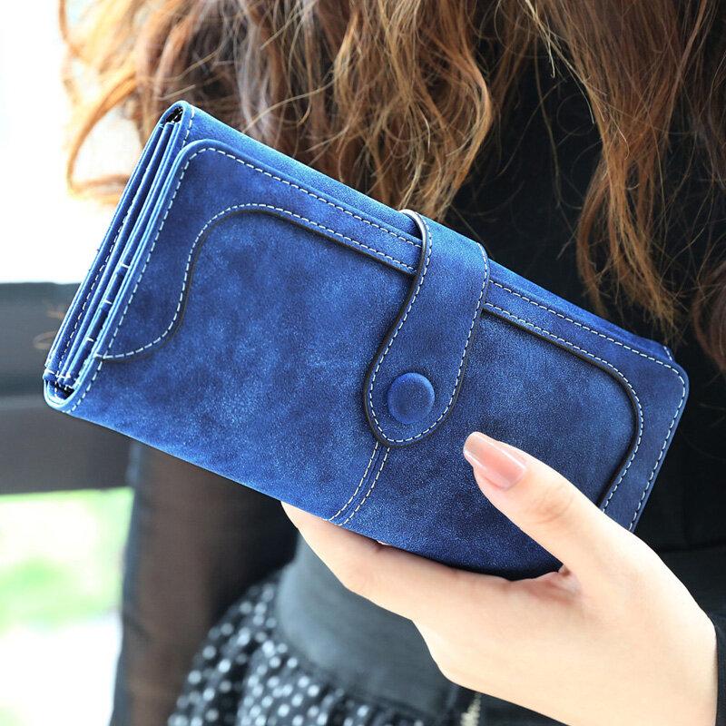 많은 부서에서 가짜 스웨이드 지갑 여성 매트 가죽 레이디 지갑 고품질 여성 지갑 카드 홀더 클러치 Carteras